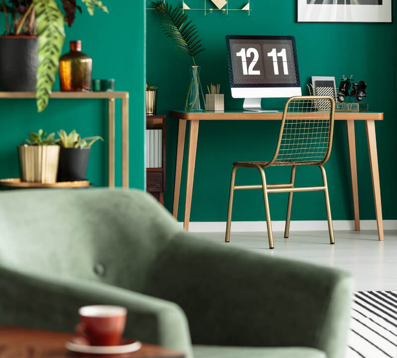 modern simple green chairs and room